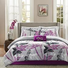 Beautiful Modern Purple Black Grey Flower Leaf Branch Bed In Bag Comforter Set