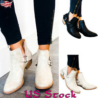 Womens Ladies Low Mid Block Heels Ankle Boots Slip On Chelsea Leather Shoes Size