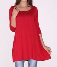 Size M Medium New 3/4 Sleeve Red Stretch Long Tunic Top Shirt Blouse Dress