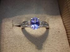 AAA Tanzanite Oval Solitaire Ring w/White Topaz Acccents in 925 Sterling-Size 7