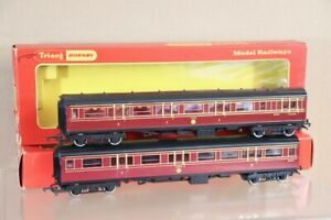 TRIANG HORNBY R747 R748 RAKE of 2 LMS CALEDONIAN COMPOSITE & BRAKE COACH nv
