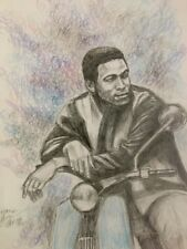 Marvin Gaye  drawing painting ,on a scooter, from 1965 RARE