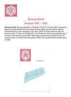 NORMAN SMITH ARSENAL 1947-1952 RARE ORIGINAL HAND SIGNED CUTTING/CARD