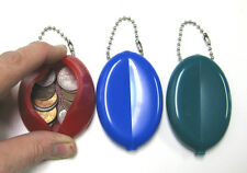 3 SOFT RUBBER OVAL SQUEEZE COIN PURSES KEYCHAINS MEN MONEY CHANGE HOLDER WALLET