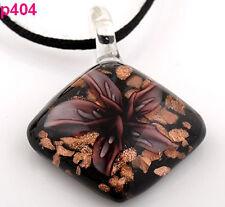 Handmade Flower Rhombus Lampwork Art Glass beaded Pendant Necklace p404