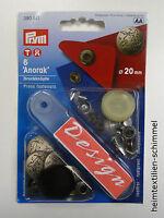 PRYM Anorak Druckknopf Druckknöpfe 20mm silber 390511