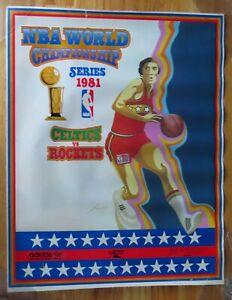 Rare 1981 BOSTON CELTICS vs HOUSTON ROCKETS NBA Championship Poster BIRD WILKINS
