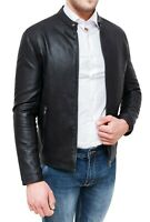 Giubbotto uomo in ecopelle nero slim fit giacca giubbino coreana casual