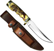 """Schrade Uncle Henry Golden Spike 9 1/4"""" w/Leather Sheath Staglon Handle 153UH"""
