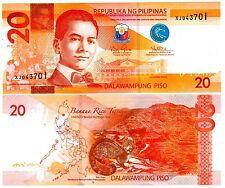 Philippines Billet 20 PISO 2014 P206 NOUVEAU LQUEZON / Civette palmiste NEUF UNC