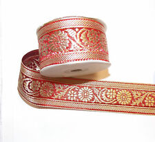 40mm red gold jacquard embroidered ribbon applique motif trimming decor