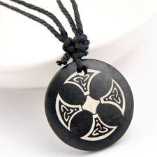 Cool Bone Tribal Cross Round Pendant Necklace