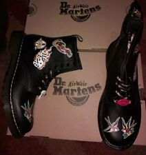 DR MARTENS PATCH GUITAR MICROPHONE FLAME DICE SWALLOW TATTOO BOOTS SIZE UK 4 37