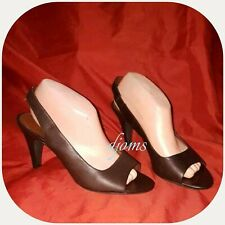 Sz 8 Womens Banana Republic Brown Leather Sling Back Peep Toe Heels Shoes