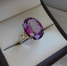 10K YELLOW GOLD FILIGREE 8 CARAT FACETED OVAL AMETHYST SOLITAIRE RING - 5.7 GRAM