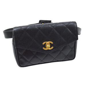 CHANEL Quilted CC Bum Belt Bag Purse Black Caviar Skin Leather 80/32 AK38577b