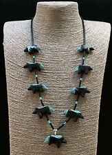 Matt Mitchell Jet Turquoise Inlay Black Horses Fetish Necklace