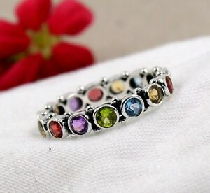 Eternity Engagement Chakra Ring 925 Sterling Silver Jewelry Multi Stone Ring
