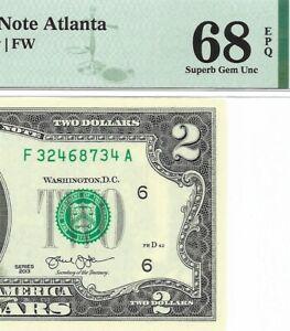 2013 $2 ATLANTA FRN, PMG SUPERB GEM UNCIRCULATED 68 EPQ BANKNOTE