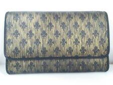 Auth PATRICK COX Gold Black PVC Long Wallet