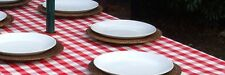 1.4x3.0m RED GINGHAM CHECK OVAL OILCLOTH / PVC WITH PARASOL HOLE - 10/12 SEATER