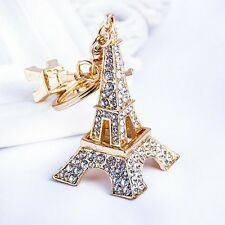 Lovely Eiffel Tower Key chain Rhinestone key ring Charm Pendant KeyChain White