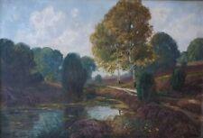 altes Ölbild Heidelandschaft mit Moorsee - signiert
