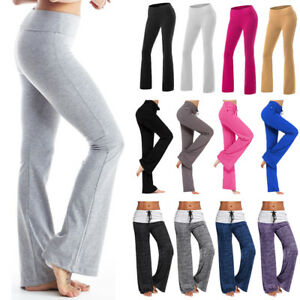 Womens Fold Over Waist Yoga Pants Flare Leg Boot Gym Workout Long Stretch