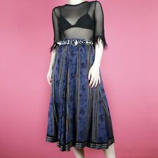VINTAGE Blue Midi High Waist 90s 80s Floral Pattern Brown Boho Hippy Skirt 8 S