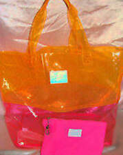 Victorias Secret Pink NEON Color Block Jelly Tote Beach Bag Carrie On NWT