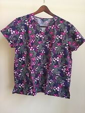 Wear For Care Black Purple & Pink Ribbons Scrub Top 1X Breast Cancer Awareness
