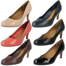 Clarks Black/Nude Soft Cushion Heeled Formal Shoes Arista Abe