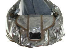 TREESJE Large Silver Leather Shoulder Hobo Tote Satchel Slouch Purse Bag