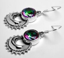 925 Sterling Silver Mystic Fire TOPAZ Horseshoe Drop Dangle Earrings Hook Studs