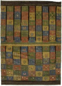 Brown Olive Tribal Checker Design 4X5 Gabbeh Oriental Rug Modern Plush Carpet