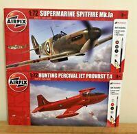 Airfix 1:72 Aircraft Bundle Super Marine Spitfire M K .LA & Hunting Percival Jet
