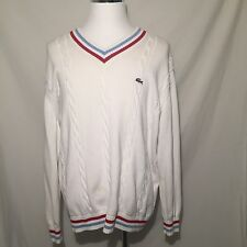 LACOSTE Vintage Cable Knit Sweat Shirt Preppy Tennis