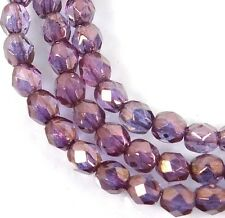 50 Firepolish Czech Glass Faceted Round Beads - Bronze Illusion 4mm