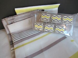 SET Saturday Knight-Chevron GRAY YELLOW Stripe Fabric Shower Curtain W/ HOOKS!