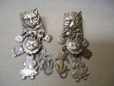 Vintage Kitty Cat Theme Dangling Charm Post Earrings