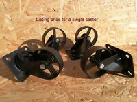 Industrial furniture swivel metal castors casters wheel vintage 8,9 cm black