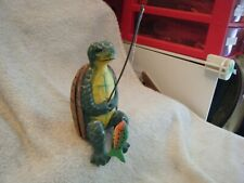 Father's Day Carved & Painted Wood Turtle Sitting & Fishing Figurine 308F