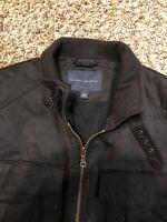 Banana Republic Men's Bomber Moto Biker Jacket Size Medium  Nylon Black Full Zip