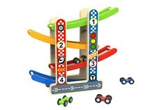 Toysters Wooden Race Car Track Tower | Zig Zag Car Sloped Tower Slide | Ramp Toy
