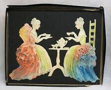 Vintage Alice Cranston Fenner Embossed Wall Plaque Colonial Ladies Having Tea