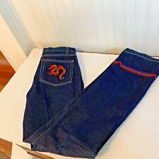 c90c004b FUBU Juniors Sz 7 8 Dark Denim Jeans embroidered legs serpent snake monster