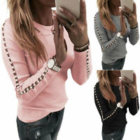Womens Beaded Long Sleeve Pullover T-Shirt Sweater Jumper Blouse Casual Tops