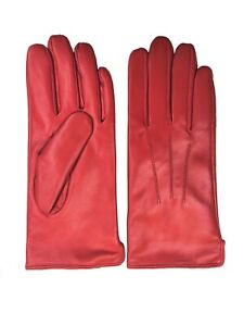 Womens Genuine Nappa Sheepskin Leather Lined Gloves  - Red