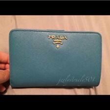 Prada Womens Saffiano Leather Continental Wallet Aqua Blue