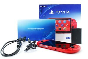 Sony PS Vita Metallic Red PCH-2000 w/ Charger + Box From Japan